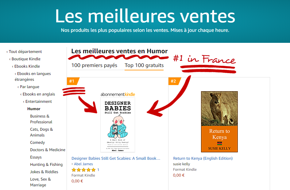 """Designer Babies Still Get Scabies"" is a #1 in Humor on Amazon in France!"