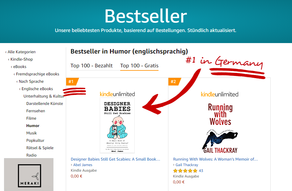 """Designer Babies Still Get Scabies"" is a #1 in Humor on Amazon in Germany!"