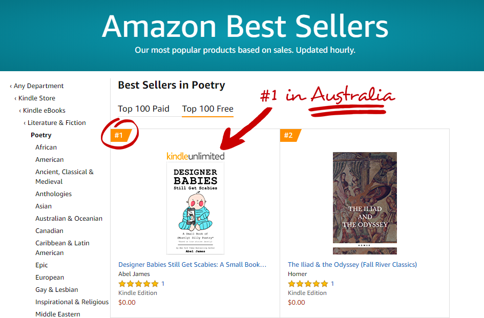 """Designer Babies Still Get Scabies"" is a #1 in Poetry on Amazon in Australia!"