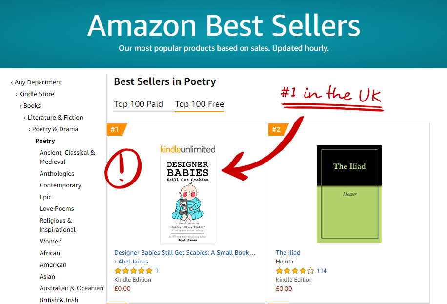 """Designer Babies Still Get Scabies"" is a #1 in Poetry on Amazon in the UK!"