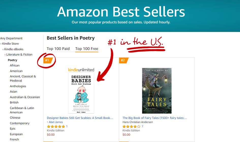 """Designer Babies Still Get Scabies"" hit #1 in Poetry on Amazon in the U.S.!"